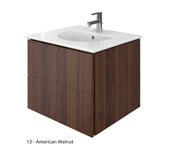 Additional image of Duravit Delos 2 Drawers Brushed Oak Unit With Darling New 630mm Basin