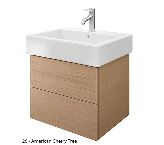 Additional image of Duravit Delos 2 Drawers Brushed Oak Unit With Vero 600mm Basin