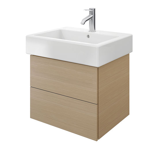 Duravit Delos 2 Drawers Brushed Oak Unit With Vero 600mm Basin