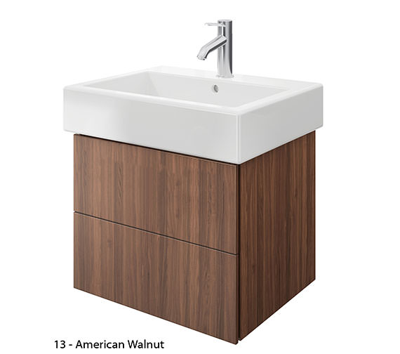 Alternate image of Duravit Delos 2 Drawers Brushed Oak Unit With Vero 600mm Basin