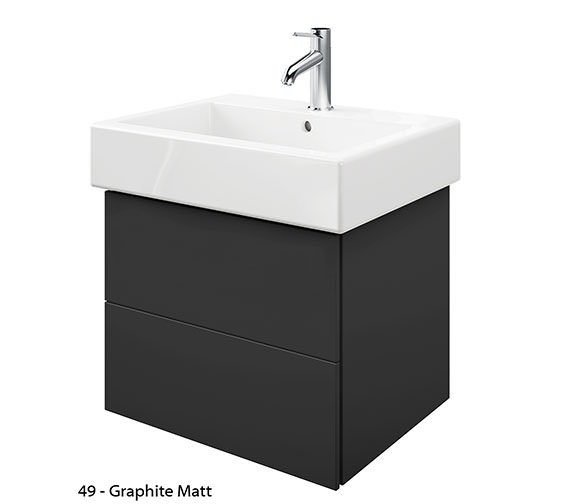 Additional image of Duravit Delos 2 Drawers White Matt Unit With Vero 600mm Basin