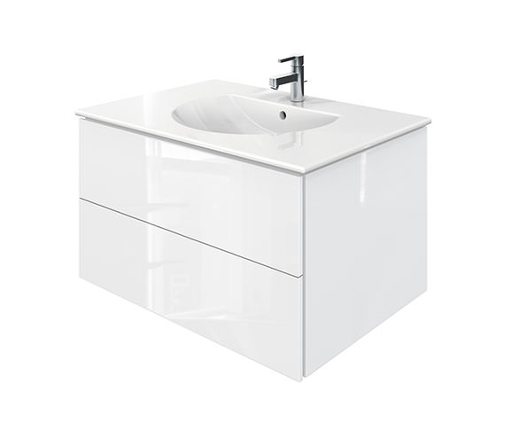Duravit Delos 2 Drawers White High Gloss Unit With Darling New 830mm Basin