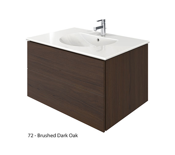 Alternate image of Duravit Delos 2 Drawers Brushed Oak Unit With Darling New 830mm Basin