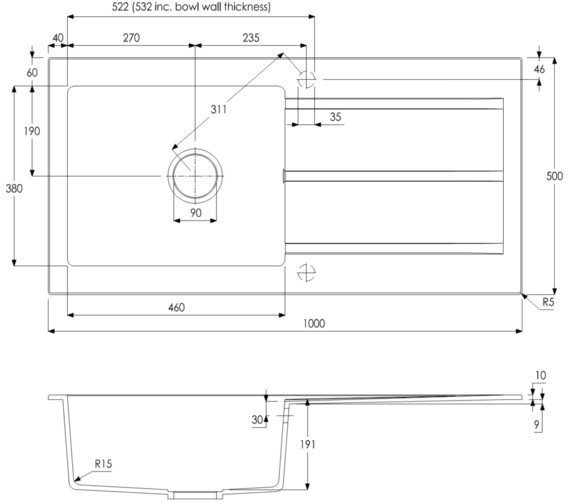 Technical drawing QS-V8696 / AW3107