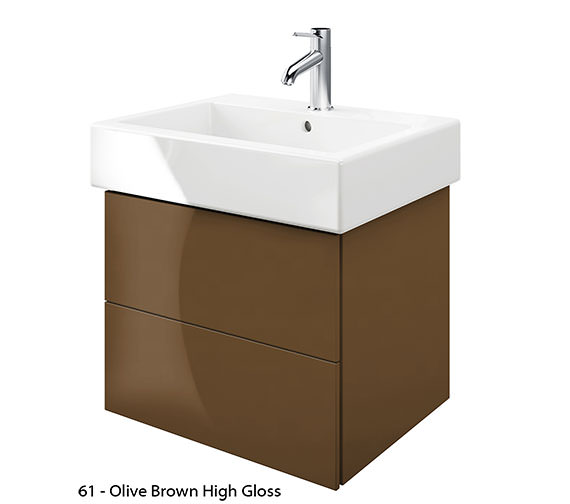 Additional image of Duravit Delos 2 Drawers Jade High Gloss Unit With Vero 600mm Basin