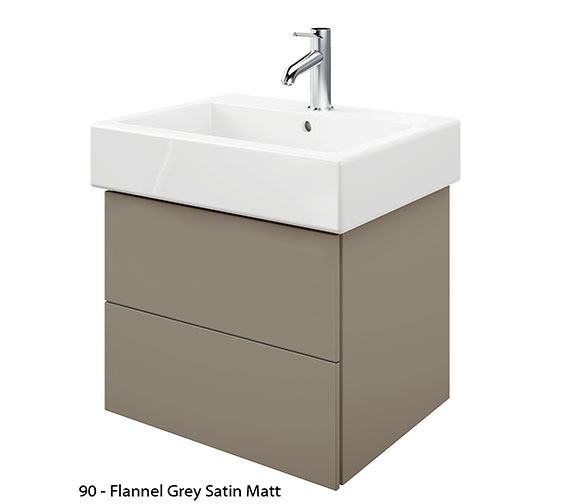 Alternate image of Duravit Delos 2 Drawers Jade High Gloss Unit With Vero 600mm Basin