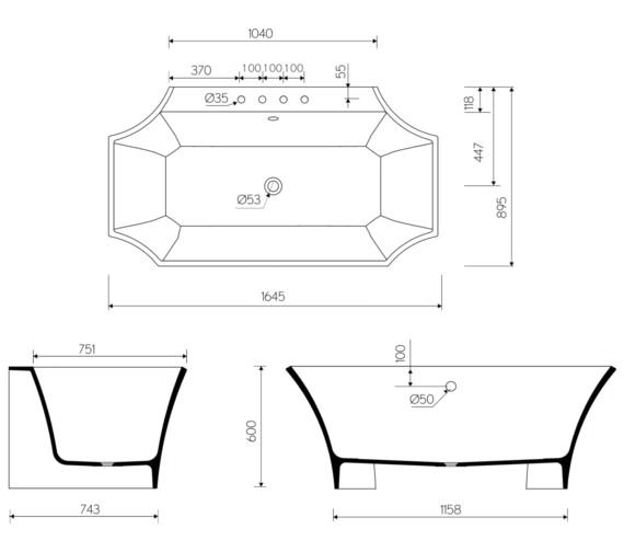 Technical drawing QS-V8529 / WF_BTWBATH