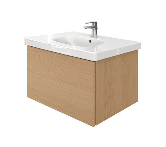 Duravit Delos 1 Compartment Unit With D-Code 850mm Basin - Brushed Oak