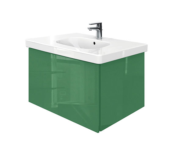 Duravit Delos 1 Compartment Unit With D-Code 850mm Basin - Jade High Gloss