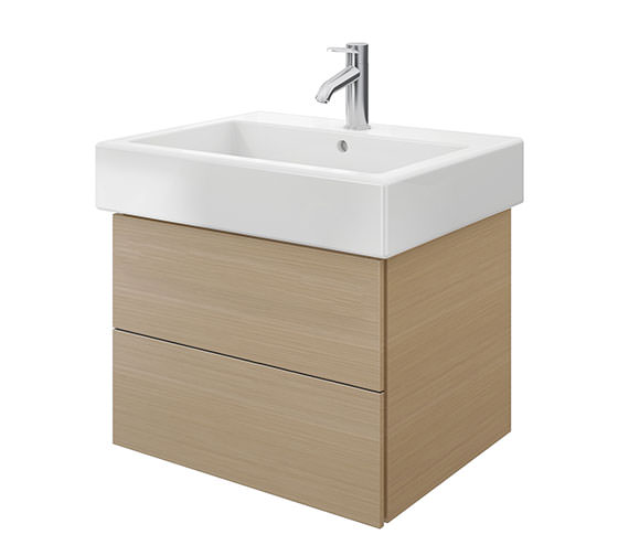 Duravit Delos 2 Drawers Brushed Oak Unit With Vero 700mm Basin