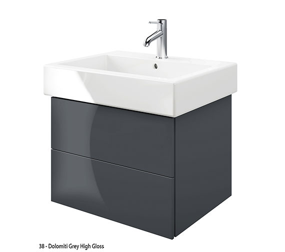 Additional image of Duravit Delos 2 Drawers Jade High Gloss Unit With Vero 700mm Basin