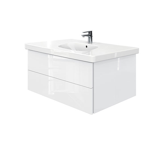 Duravit Delos 2 Drawers Unit With D-Code 1050mm Basin - White High Gloss