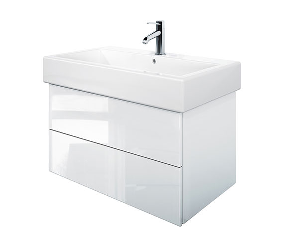 Duravit Delos 2 Drawers White High Gloss Unit With Vero 800mm Basin