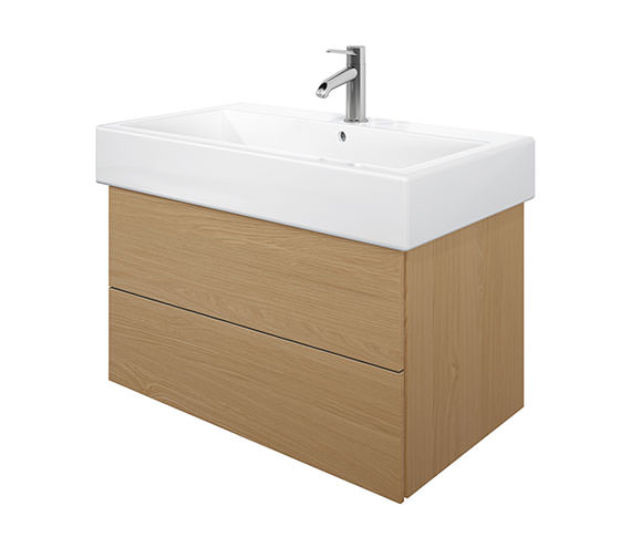Duravit Delos 2 Drawers Brushed Oak Unit With Vero 800mm Basin