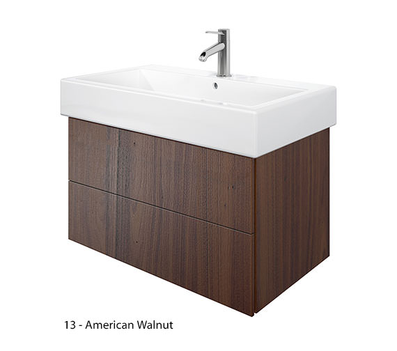 Additional image of Duravit Delos 2 Drawers Brushed Oak Unit With Vero 800mm Basin