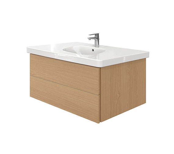 Duravit Delos 2 Drawers Unit With D-Code 1050mm Basin - Brushed Oak