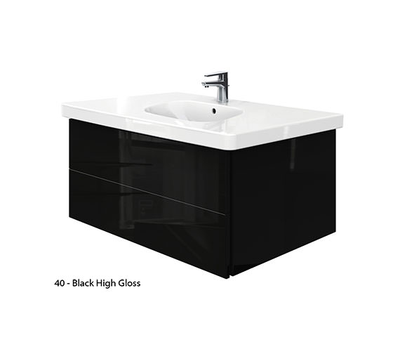 Additional image of Duravit Delos 2 Drawers Unit With D-Code 1050mm Basin - Jade High Gloss