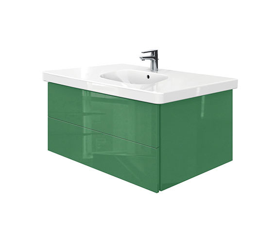 Duravit Delos 2 Drawers Unit With D-Code 1050mm Basin - Jade High Gloss