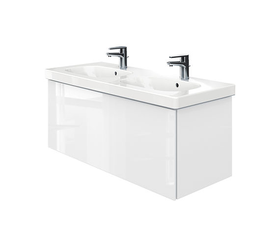 Duravit Delos 1 Compartment Unit With D-Code 1200mm Basin - White High Gloss