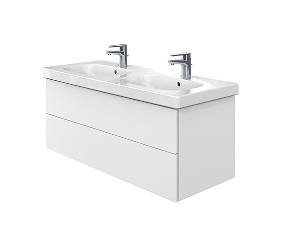 Duravit Delos 2 Drawers Unit With D-Code 1200mm Basin - White Matt