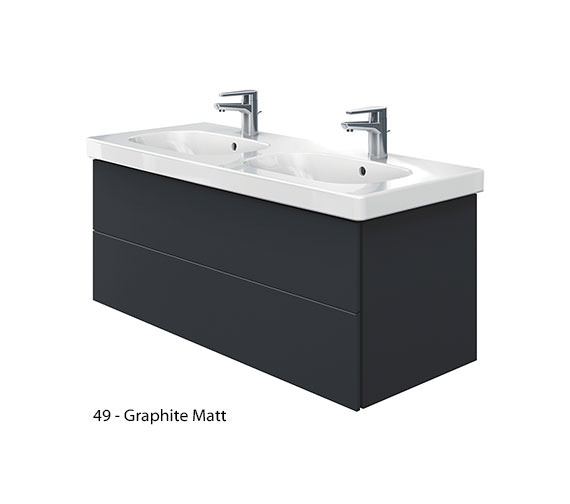 Alternate image of Duravit Delos 2 Drawers Unit With D-Code 1200mm Basin - White Matt