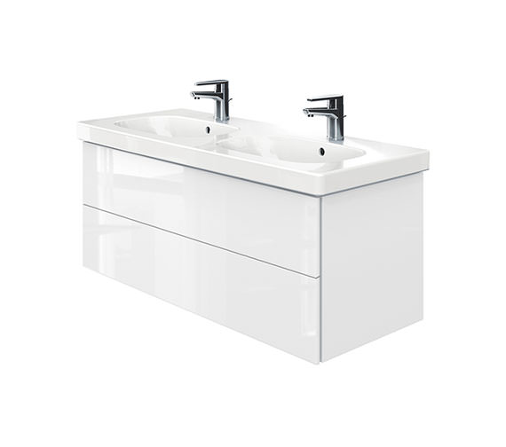 Duravit Delos 2 Drawers Unit With D-Code 1200mm Basin - White High Gloss