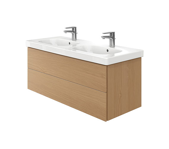 Duravit Delos 2 Drawers Unit With D-Code 1200mm Basin - Brushed Oak