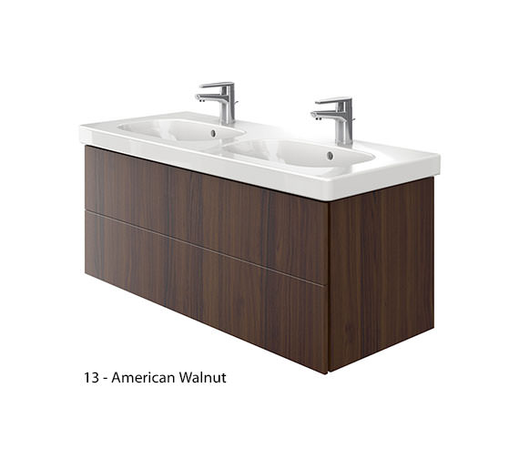 Additional image of Duravit Delos 2 Drawers Unit With D-Code 1200mm Basin - Brushed Oak