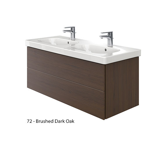 Alternate image of Duravit Delos 2 Drawers Unit With D-Code 1200mm Basin - Brushed Oak