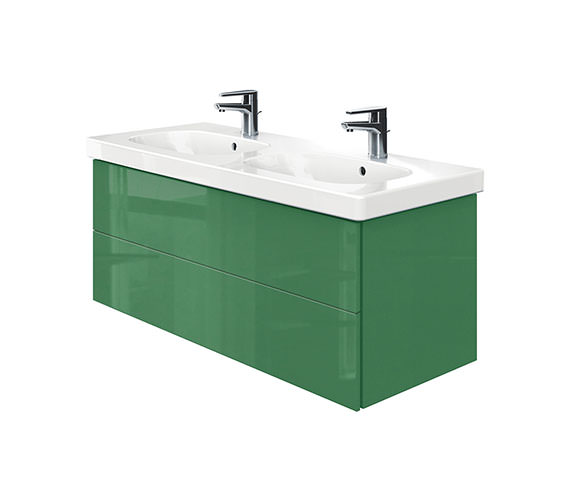 Duravit Delos 2 Drawers Unit With D-Code 1200mm Basin - Jade High Gloss