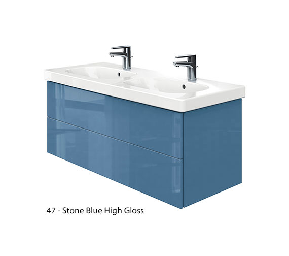 Alternate image of Duravit Delos 2 Drawers Unit With D-Code 1200mm Basin - Jade High Gloss