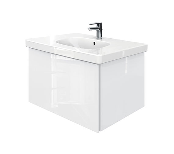 Duravit Delos 1 Compartment Unit With D-Code 850mm Basin - White High Gloss