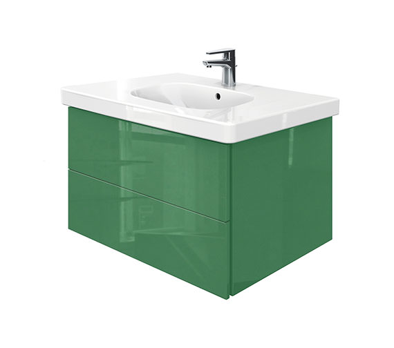 Duravit Delos 2 Drawers Unit With D-Code 850mm Basin - Jade High Gloss