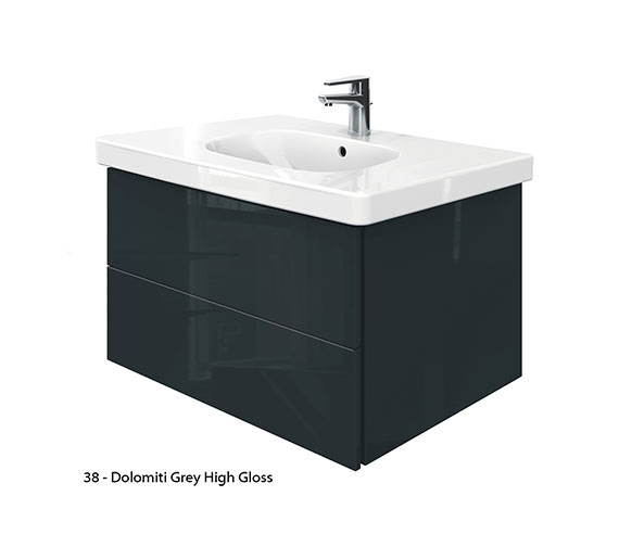 Alternate image of Duravit Delos 2 Drawers Unit With D-Code 850mm Basin - Jade High Gloss