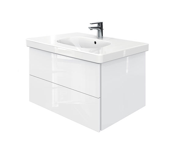 Duravit Delos 2 Drawers Unit With D-Code 850mm Basin - White High Gloss
