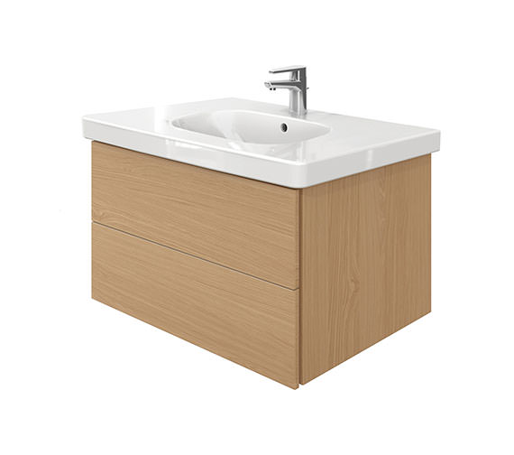 Duravit Delos 2 Drawers Unit With D-Code 850mm Basin - Brushed Oak