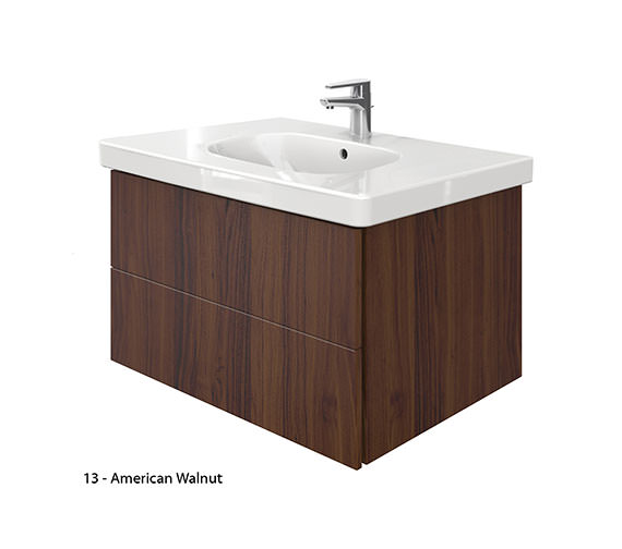 Alternate image of Duravit Delos 2 Drawers Unit With D-Code 850mm Basin - Brushed Oak