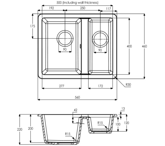 Technical drawing QS-V8713 / AW3132