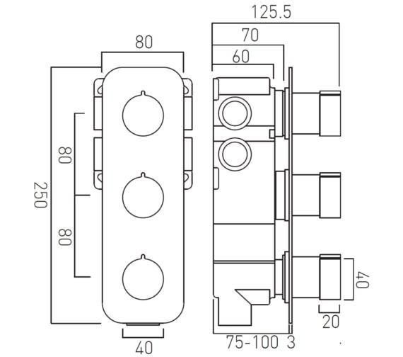 Technical drawing QS-V35254 / TAB-128/3-ALT-C/P