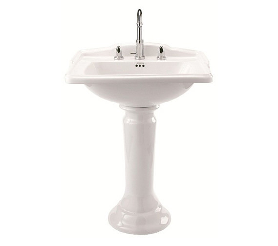 Imperial Drift 625mm Square Basin And Pedetal - White