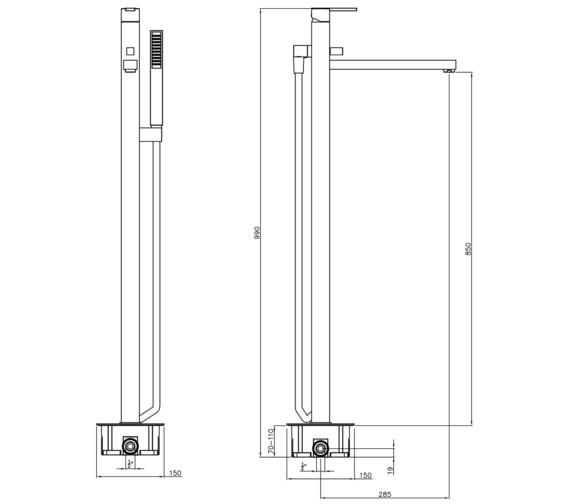 Technical drawing QS-V8550 / AB4056