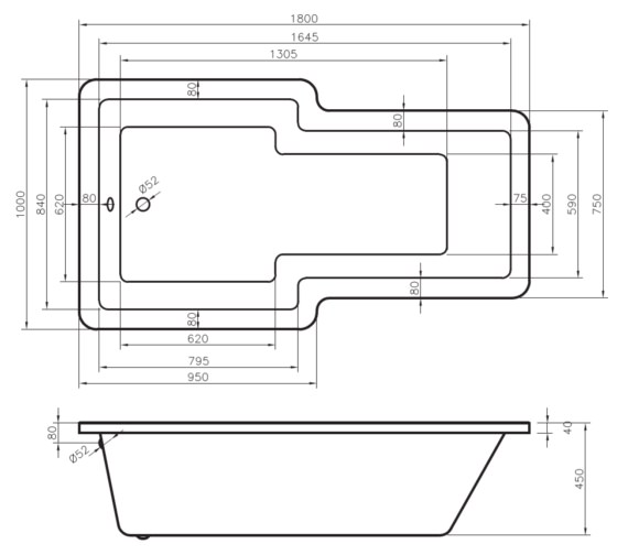 Technical drawing QS-V6503 / BO015S1
