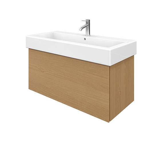 Duravit Delos 1 Compartment Brushed Oak Unit With Vero 1000mm Basin