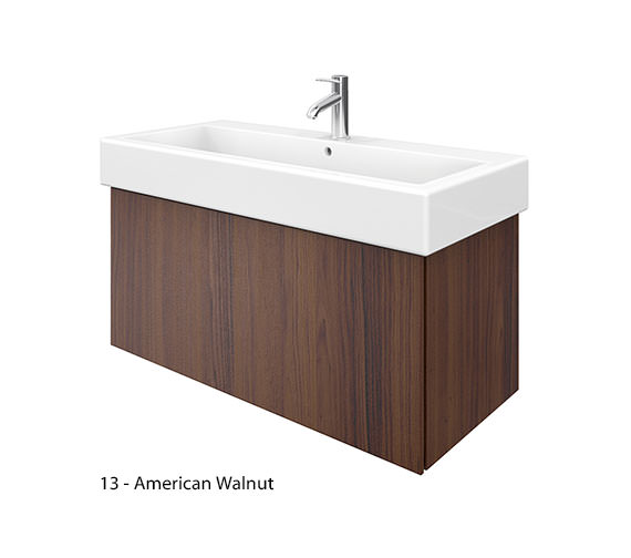 Additional image of Duravit Delos 1 Compartment Brushed Oak Unit With Vero 1000mm Basin