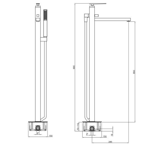 Technical drawing QS-V8556 / AB4085