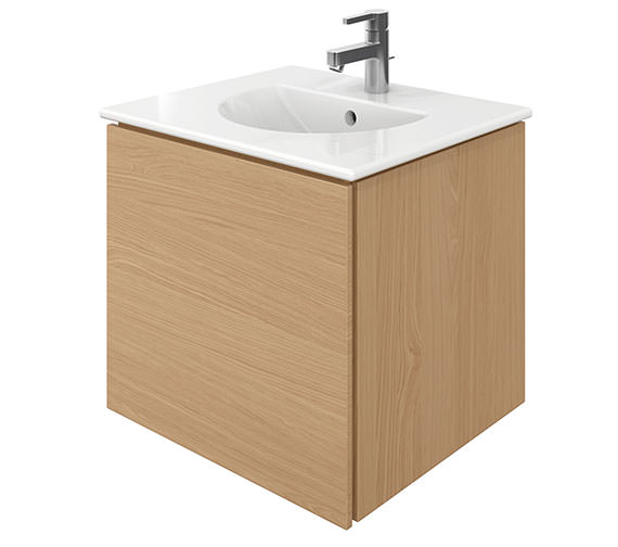 Duravit Delos 1 Compartment Brushed Oak Unit With Darling New 530mm Basin