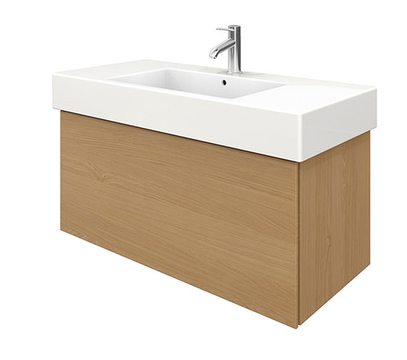 Duravit Delos 1 Compartment Brushed Oak Unit With Vero 1050mm Basin