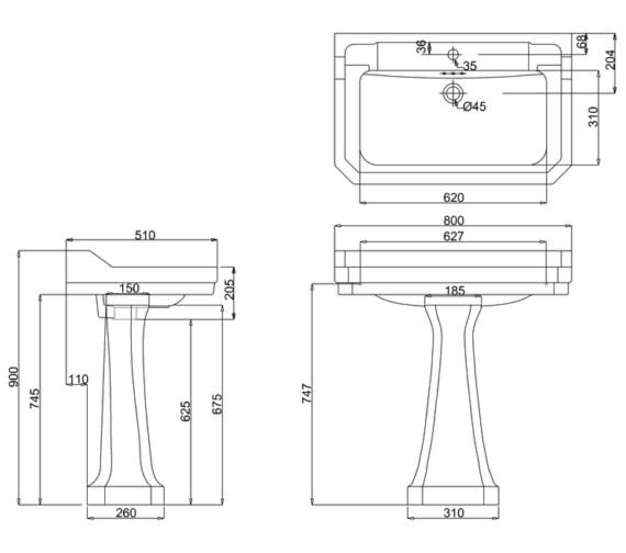 Technical drawing QS-V13478 / B18 1TH