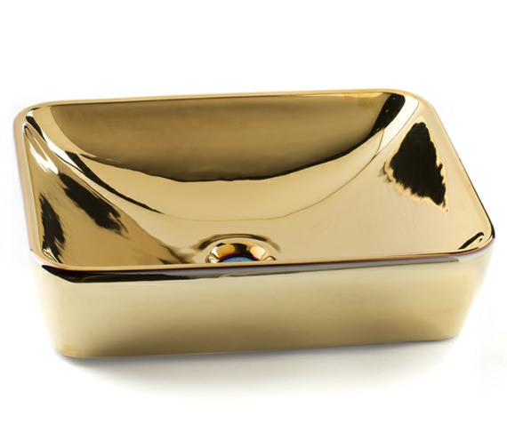 Beo Lavabo 500mm Rectangular Countertop Basin Gloss Gold