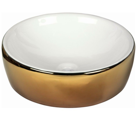 Beo Lavabo 435mm Countertop Basin White And Gold